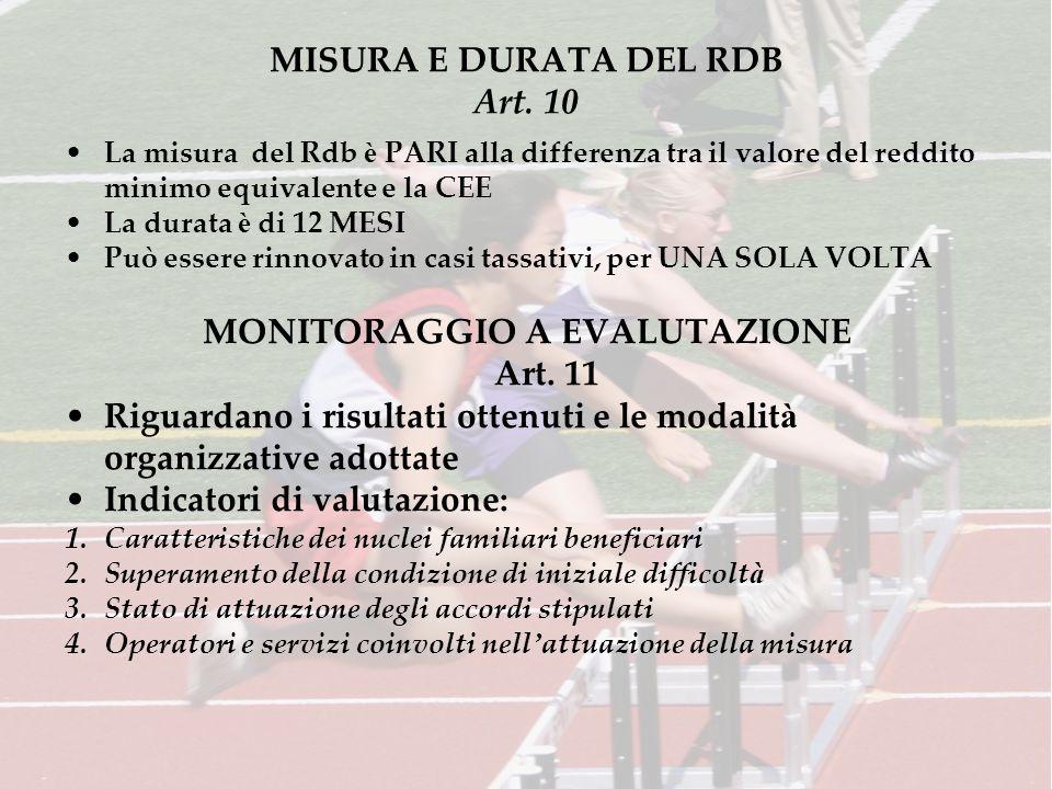 MISURA E DURATA DEL RDB Art. 10 La misura del Rdb è PARI alla differenza tra il valore del reddito minimo equivalente e la CEE La durata è di 12 MESI