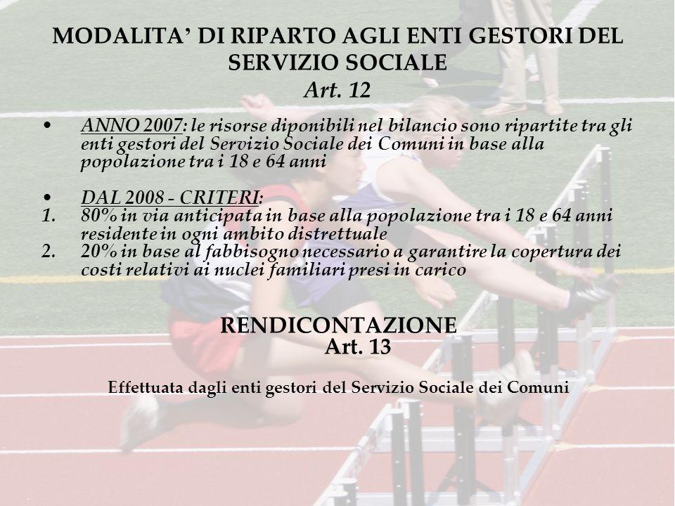 MODALITA DI RIPARTO AGLI ENTI GESTORI DEL SERVIZIO SOCIALE Art.
