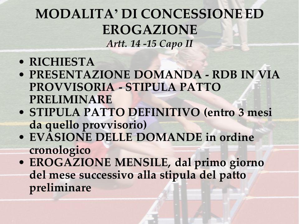 MODALITA DI CONCESSIONE ED EROGAZIONE Artt. 14 -15 Capo II RICHIESTA PRESENTAZIONE DOMANDA - RDB IN VIA PROVVISORIA - STIPULA PATTO PRELIMINARE STIPUL