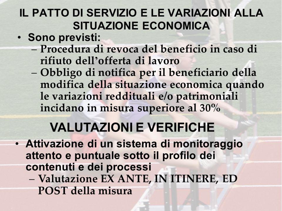 IL PATTO DI SERVIZIO E LE VARIAZIONI ALLA SITUAZIONE ECONOMICA Sono previsti: –Procedura di revoca del beneficio in caso di rifiuto dell offerta di la