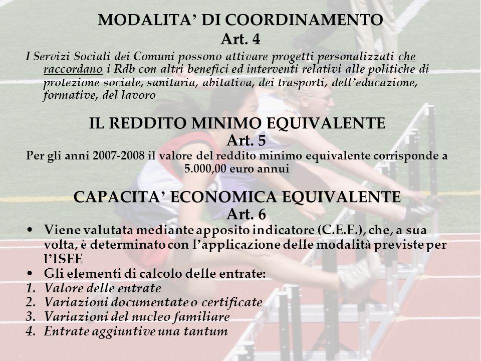 MODALITA DI COORDINAMENTO Art.