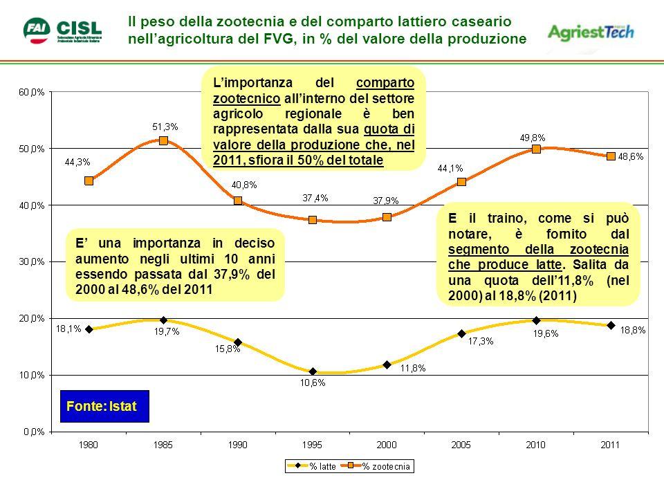 Il peso della zootecnia e del comparto lattiero caseario nellagricoltura del FVG, in % del valore della produzione Limportanza del comparto zootecnico allinterno del settore agricolo regionale è ben rappresentata dalla sua quota di valore della produzione che, nel 2011, sfiora il 50% del totale Fonte: Istat E una importanza in deciso aumento negli ultimi 10 anni essendo passata dal 37,9% del 2000 al 48,6% del 2011 E il traino, come si può notare, è fornito dal segmento della zootecnia che produce latte.