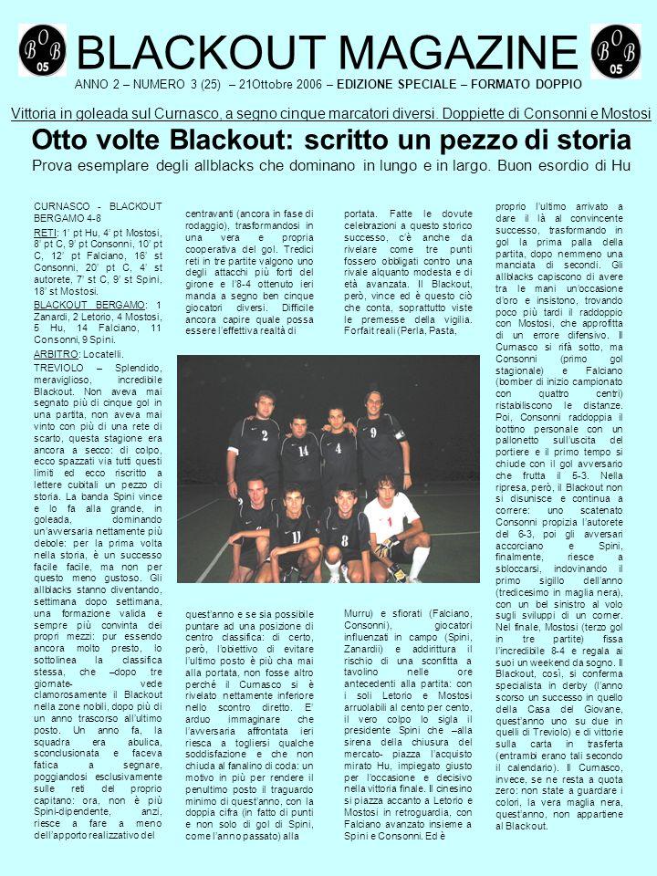 BLACKOUT MAGAZINE ANNO 2 – NUMERO 3 (25) – 21Ottobre 2006 – EDIZIONE SPECIALE – FORMATO DOPPIO Vittoria in goleada sul Curnasco, a segno cinque marcatori diversi.