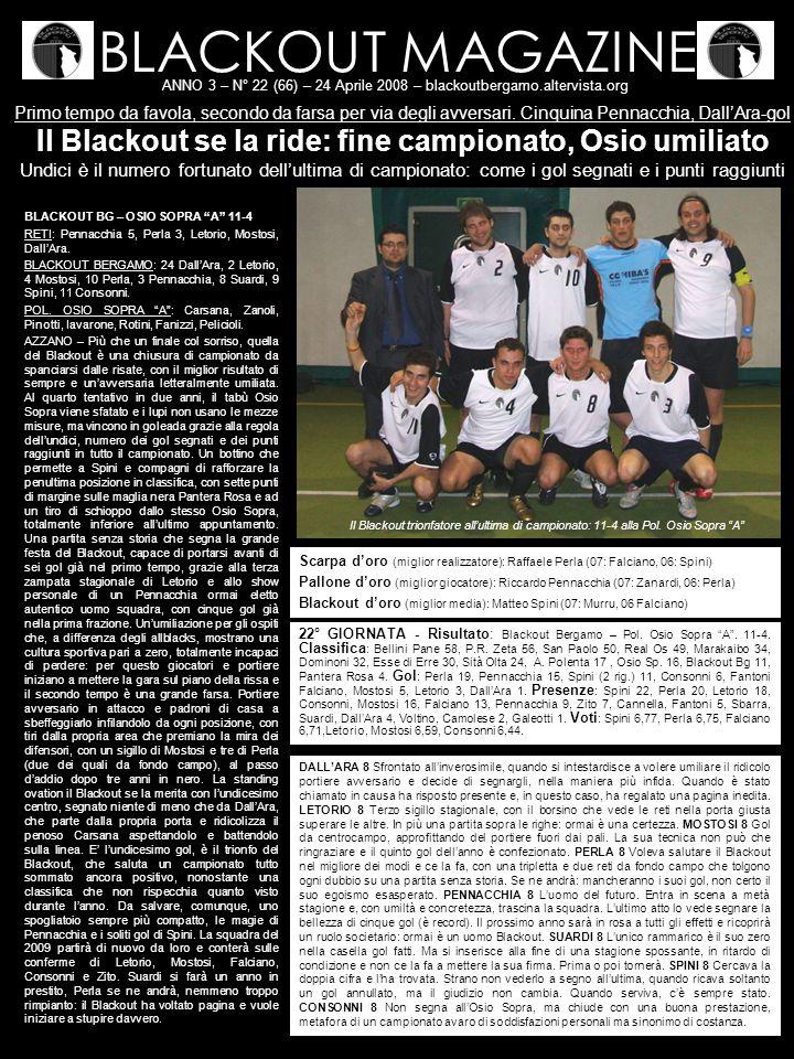 BLACKOUT MAGAZINE ANNO 3 – N° 22 (66) – 24 Aprile 2008 – blackoutbergamo.altervista.org Primo tempo da favola, secondo da farsa per via degli avversari.