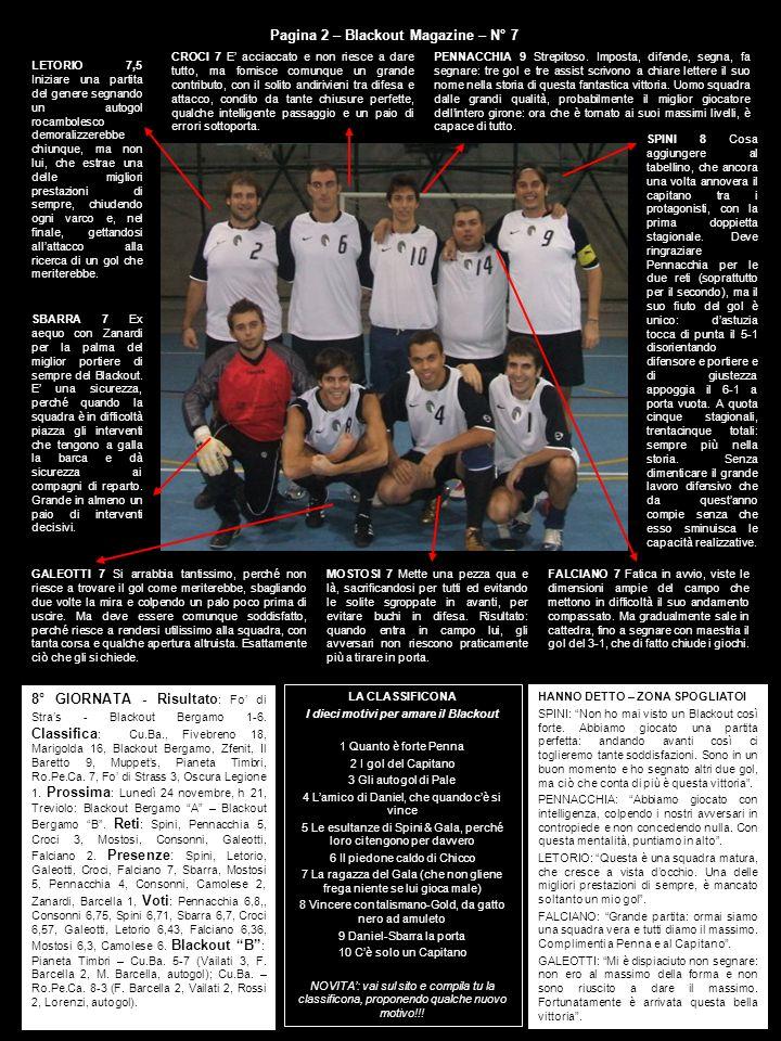 8° GIORNATA - Risultato : Fo di Stras - Blackout Bergamo 1-6. Classifica : Cu.Ba., Fivebreno 18, Marigolda 16, Blackout Bergamo, Zfenit, Il Baretto 9,
