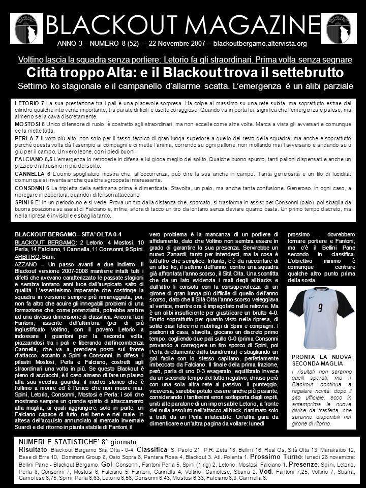 BLACKOUT MAGAZINE ANNO 3 – NUMERO 8 (52) – 22 Novembre 2007 – blackoutbergamo.altervista.org Voltino lascia la squadra senza portiere: Letorio fa gli straordinari.