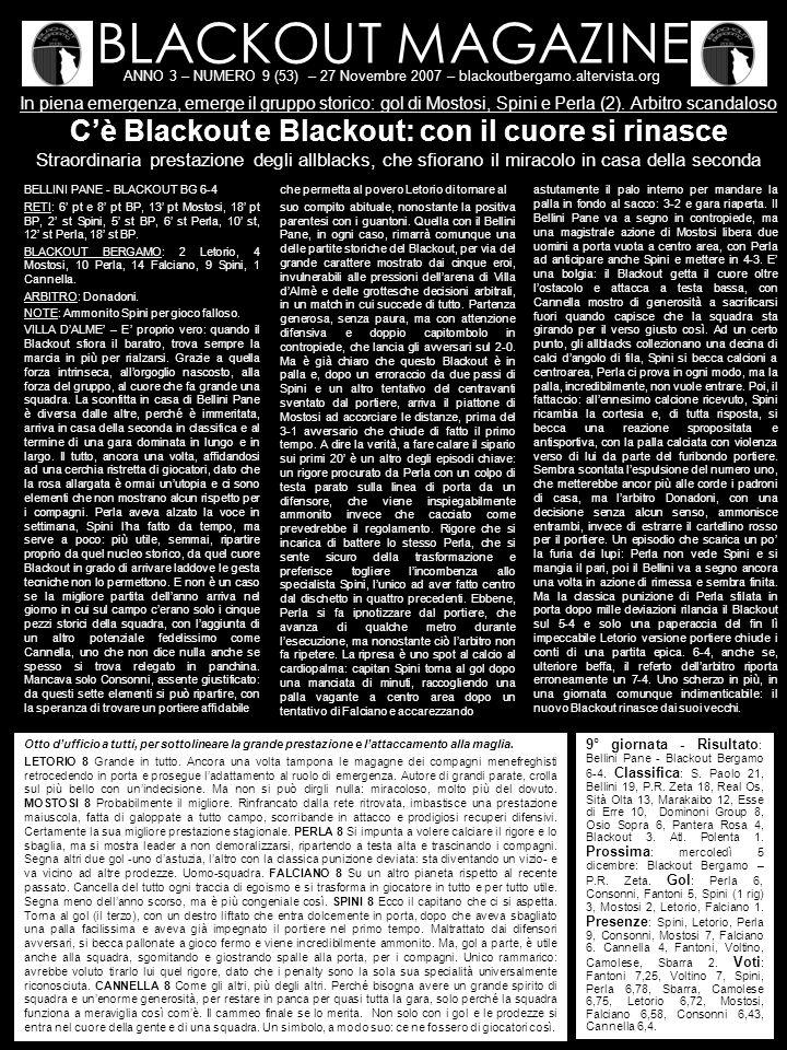 BLACKOUT MAGAZINE ANNO 3 – NUMERO 9 (53) – 27 Novembre 2007 – blackoutbergamo.altervista.org In piena emergenza, emerge il gruppo storico: gol di Mostosi, Spini e Perla (2).