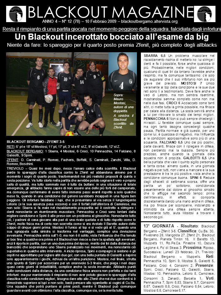 BLACKOUT MAGAZINE ANNO 4 – N° 12 (78) – 10 Febbraio 2009 – blackoutbergamo.altervista.org Resta il rimpianto di una partita giocata nel momento peggio