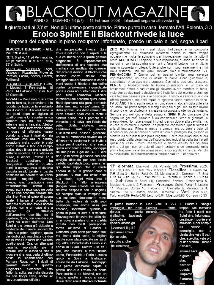 BLACKOUT MAGAZINE ANNO 3 – NUMERO 13 (57) – 14 Febbraio 2008 – blackoutbergamo.altervista.org Il giusto pari al 23 st. Non più ultimo posto solitario.