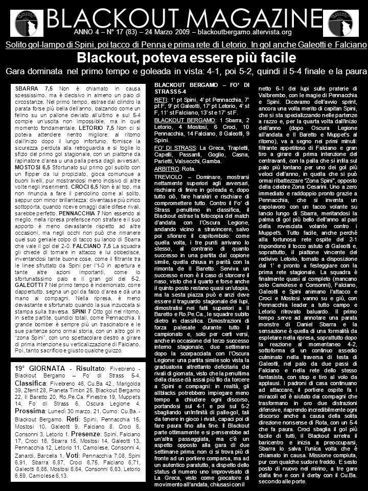 BLACKOUT MAGAZINE ANNO 4 – N° 17 (83) – 24 Marzo 2009 – blackoutbergamo.altervista.org Solito gol-lampo di Spini, poi tacco di Penna e prima rete di Letorio.