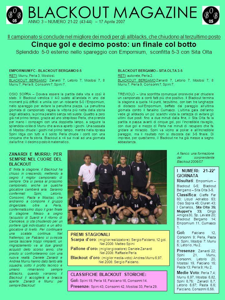 BLACKOUT MAGAZINE ANNO 3 – NUMERO 21-22 (43-44) – 17 Aprile 2007 Il campionato si conclude nel migliore dei modi per gli allblacks, che chiudono al te