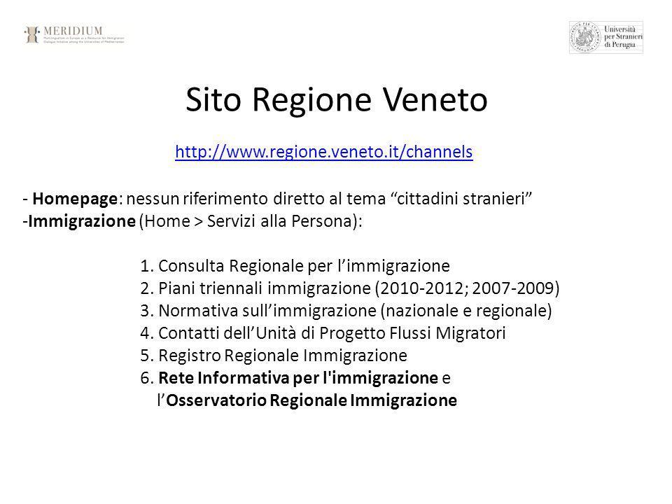 Sito Regione Veneto http://www.regione.veneto.it/channels - Homepage: nessun riferimento diretto al tema cittadini stranieri -Immigrazione (Home > Servizi alla Persona): 1.