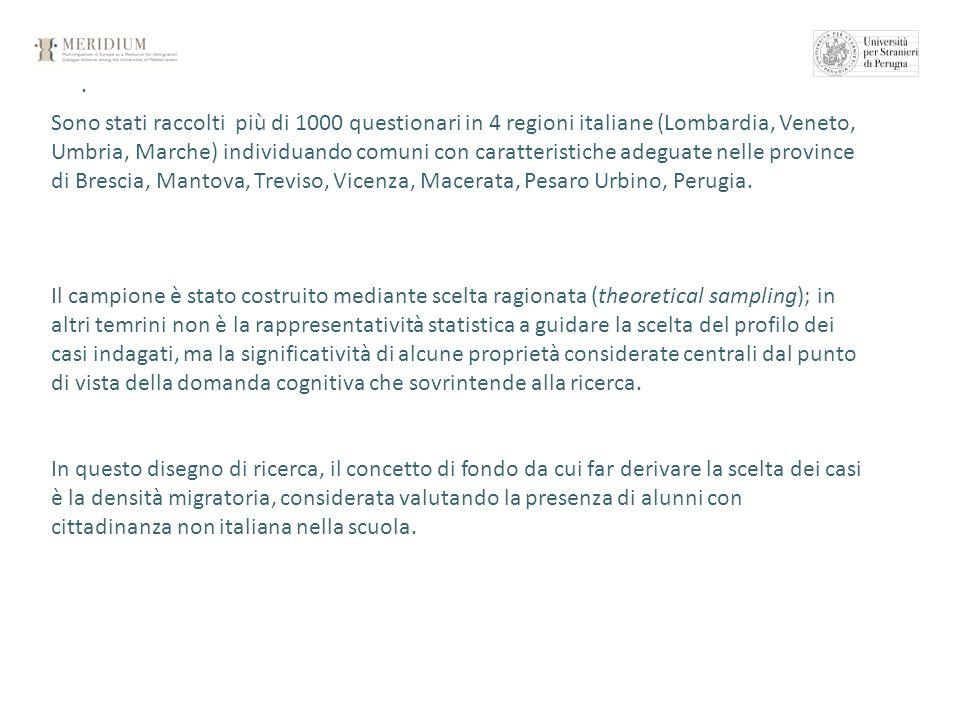 . Sono stati raccolti più di 1000 questionari in 4 regioni italiane (Lombardia, Veneto, Umbria, Marche) individuando comuni con caratteristiche adegua