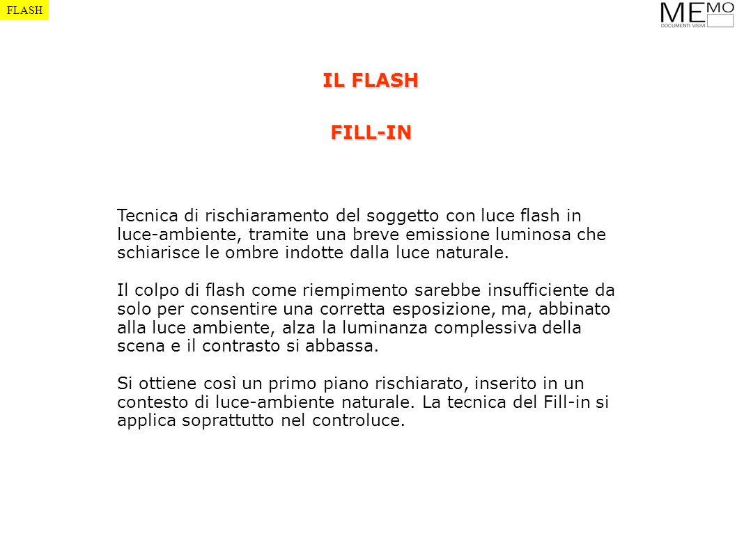 FLASH IL FLASH FILL-IN Tecnica di rischiaramento del soggetto con luce flash in luce-ambiente, tramite una breve emissione luminosa che schiarisce le