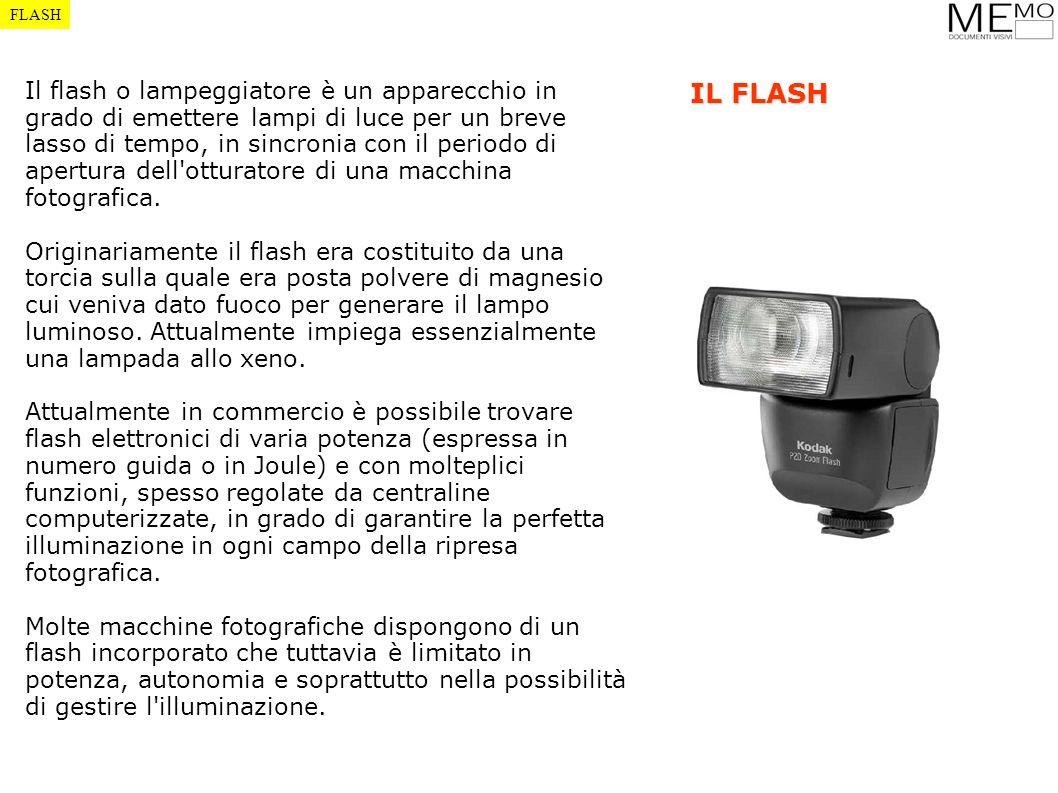 FLASH Il flash o lampeggiatore è un apparecchio in grado di emettere lampi di luce per un breve lasso di tempo, in sincronia con il periodo di apertur
