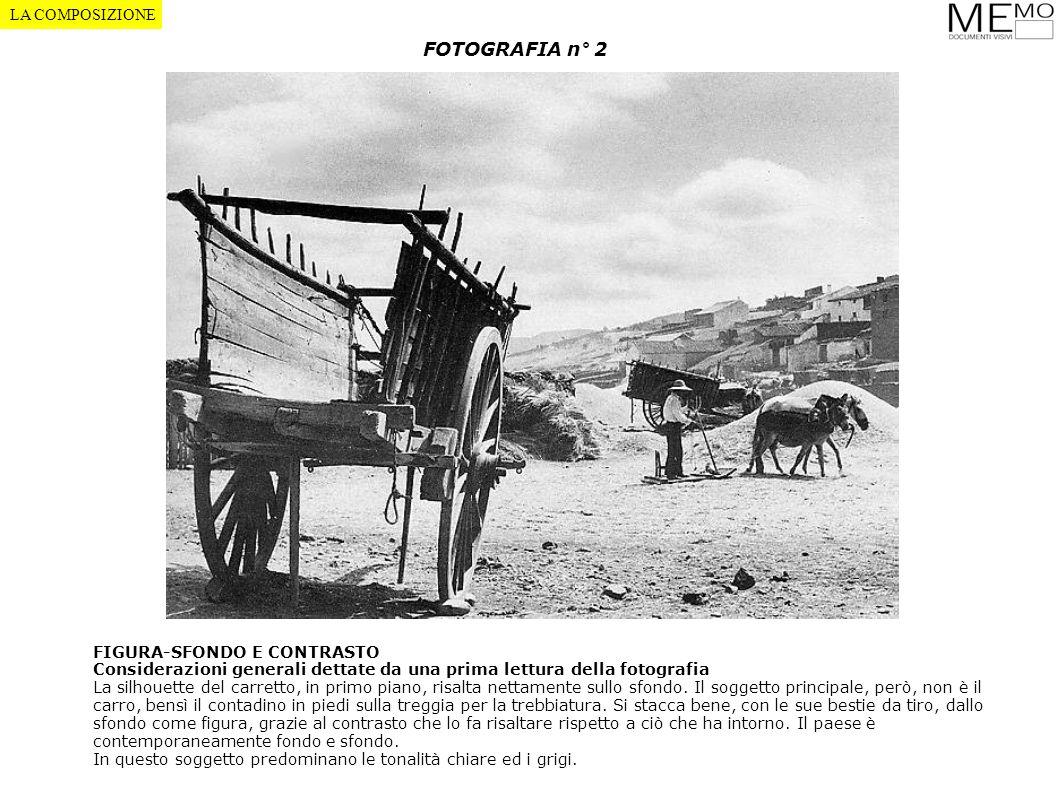 FOTOGRAFIA n° 2 FIGURA-SFONDO E CONTRASTO Considerazioni generali dettate da una prima lettura della fotografia La silhouette del carretto, in primo p