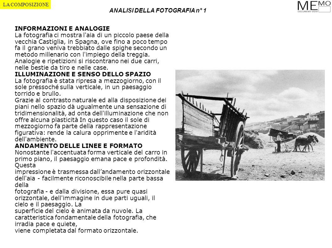 ANALISI DELLA FOTOGRAFIA n° 1 LA COMPOSIZIONE INFORMAZIONI E ANALOGIE La fotografia ci mostra l'aia di un piccolo paese della vecchia Castiglia, in Sp
