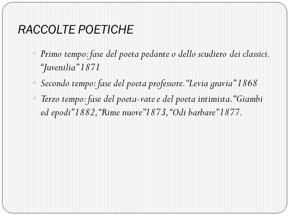RACCOLTE POETICHE Primo tempo: fase del poeta pedante o dello scudiero dei classici.