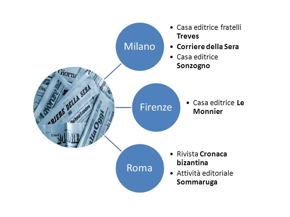 Milano Casa editrice fratelli Treves Corriere della Sera Casa editrice Sonzogno Firenze Casa editrice Le Monnier Roma Rivista Cronaca bizantina Attivi