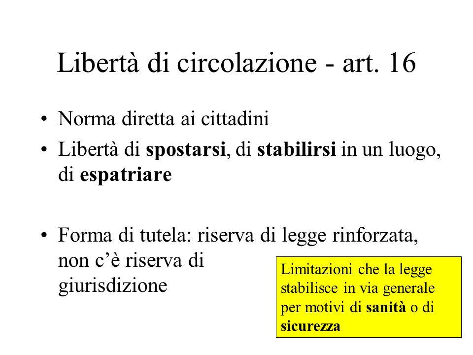 Libertà di circolazione - art. 16 Norma diretta ai cittadini Libertà di spostarsi, di stabilirsi in un luogo, di espatriare Forma di tutela: riserva d