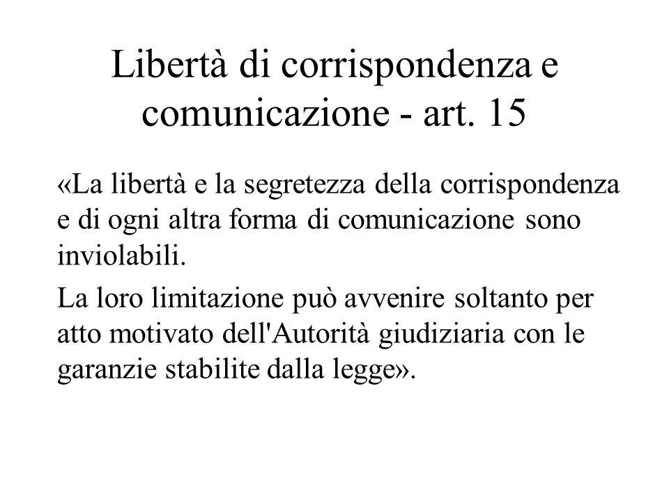 Libertà di corrispondenza e comunicazione - art. 15 «La libertà e la segretezza della corrispondenza e di ogni altra forma di comunicazione sono invio