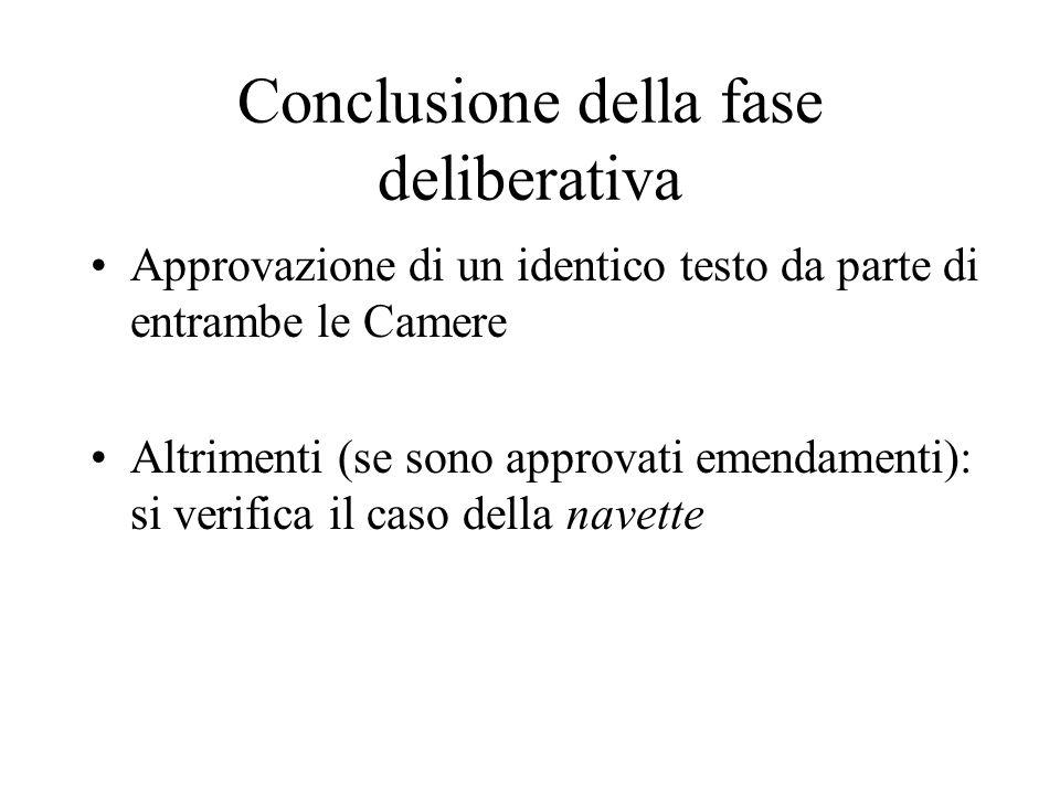 Conclusione della fase deliberativa Approvazione di un identico testo da parte di entrambe le Camere Altrimenti (se sono approvati emendamenti): si verifica il caso della navette