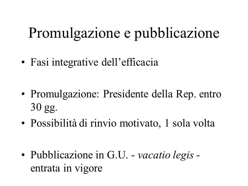 Promulgazione e pubblicazione Fasi integrative dellefficacia Promulgazione: Presidente della Rep.