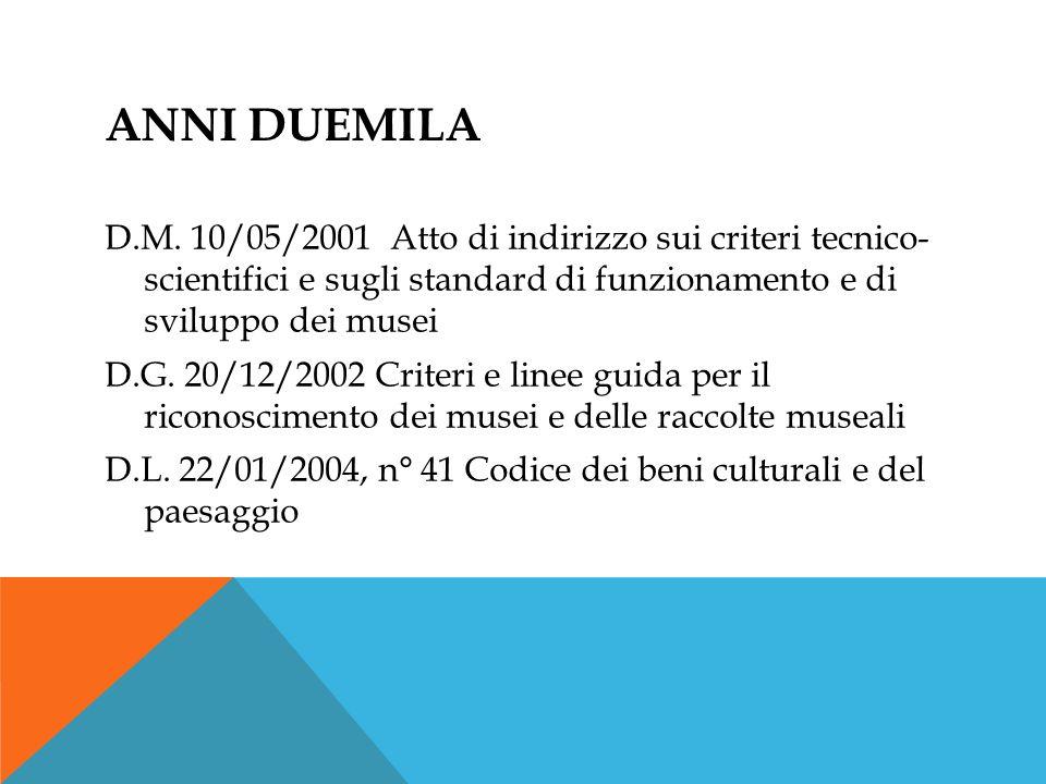 ANNI DUEMILA D.M. 10/05/2001 Atto di indirizzo sui criteri tecnico- scientifici e sugli standard di funzionamento e di sviluppo dei musei D.G. 20/12/2