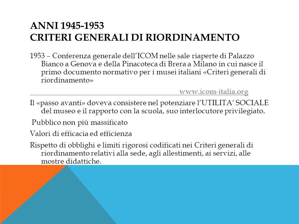 ANNI 1945-1953 CRITERI GENERALI DI RIORDINAMENTO 1953 – Conferenza generale dellICOM nelle sale riaperte di Palazzo Bianco a Genova e della Pinacoteca