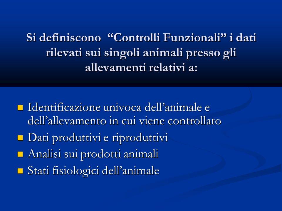 Si definiscono Controlli Funzionali i dati rilevati sui singoli animali presso gli allevamenti relativi a: Identificazione univoca dellanimale e dellallevamento in cui viene controllato Identificazione univoca dellanimale e dellallevamento in cui viene controllato Dati produttivi e riproduttivi Dati produttivi e riproduttivi Analisi sui prodotti animali Analisi sui prodotti animali Stati fisiologici dellanimale Stati fisiologici dellanimale