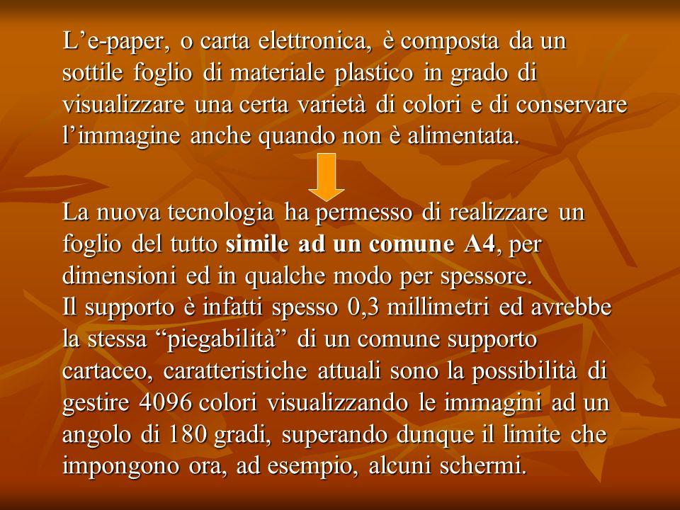 Le-paper, o carta elettronica, è composta da un sottile foglio di materiale plastico in grado di visualizzare una certa varietà di colori e di conserv