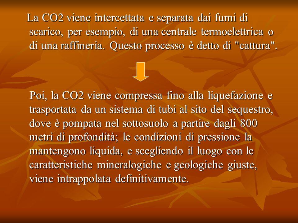 La CO2 viene intercettata e separata dai fumi di scarico, per esempio, di una centrale termoelettrica o di una raffineria. Questo processo è detto di