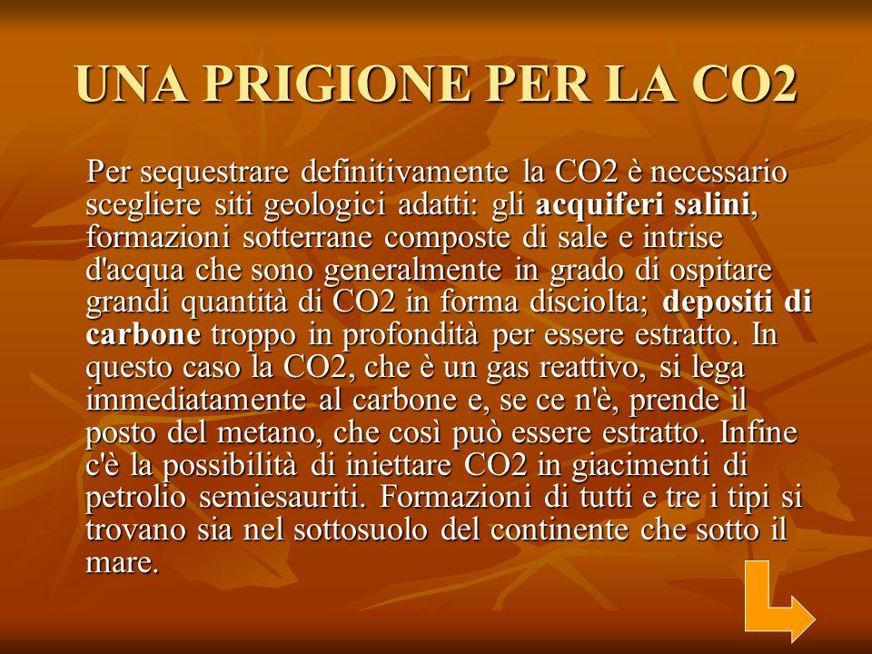 UNA PRIGIONE PER LA CO2 Per sequestrare definitivamente la CO2 è necessario scegliere siti geologici adatti: gli acquiferi salini, formazioni sotterra