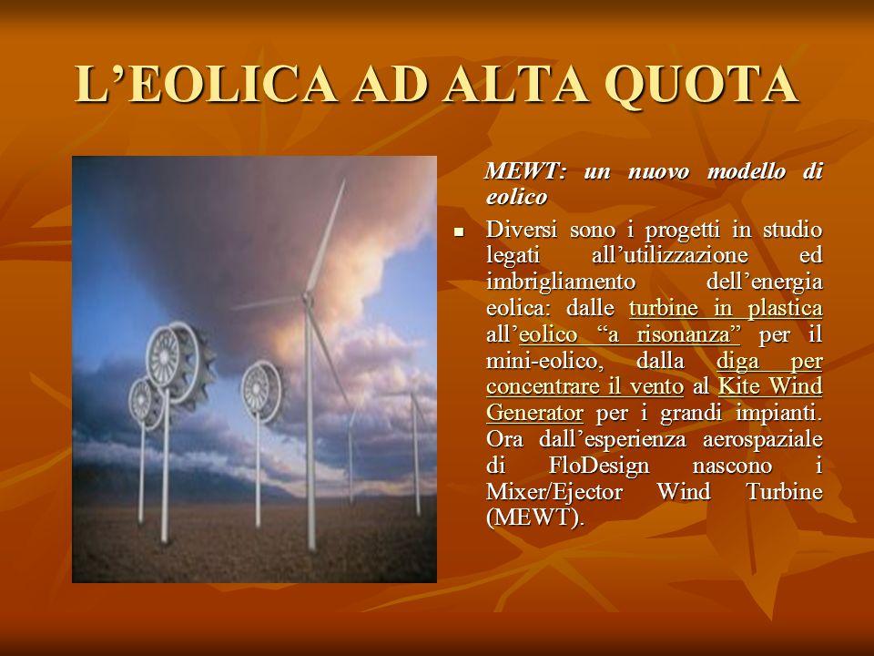 LEOLICA AD ALTA QUOTA MEWT: un nuovo modello di eolico MEWT: un nuovo modello di eolico Diversi sono i progetti in studio legati allutilizzazione ed i