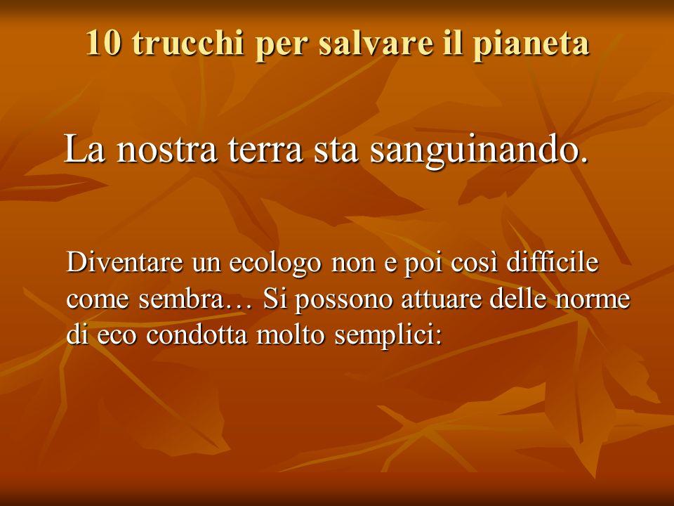 10 trucchi per salvare il pianeta La nostra terra sta sanguinando. Diventare un ecologo non e poi così difficile come sembra… Si possono attuare delle