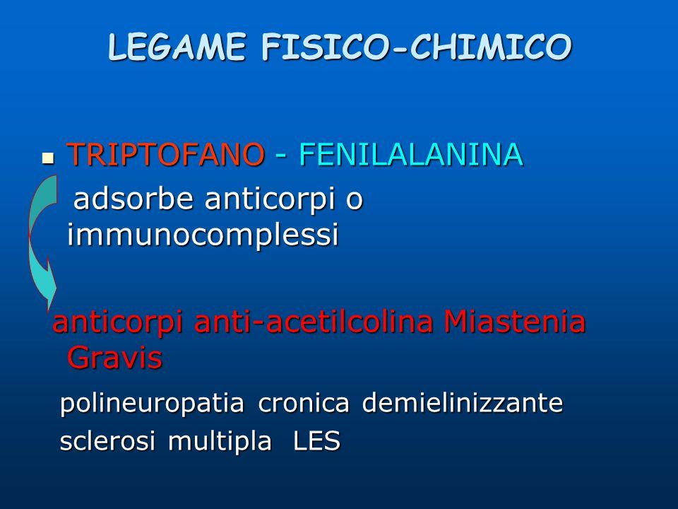 LEGAME FISICO-CHIMICO TRIPTOFANO - FENILALANINA TRIPTOFANO - FENILALANINA adsorbe anticorpi o immunocomplessi adsorbe anticorpi o immunocomplessi anti
