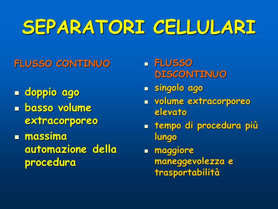 SEPARATORI CELLULARI FLUSSO CONTINUO doppio ago doppio ago basso volume extracorporeo basso volume extracorporeo massima automazione della procedura m