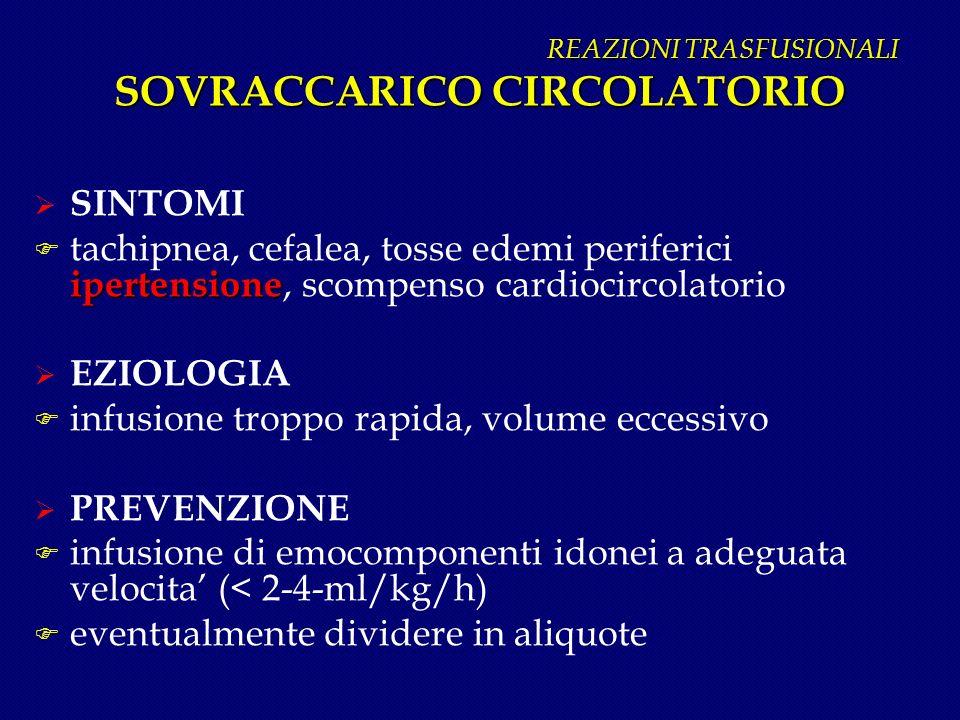 REAZIONI TRASFUSIONALI SOVRACCARICO CIRCOLATORIO REAZIONI TRASFUSIONALI SOVRACCARICO CIRCOLATORIO SINTOMI ipertensione F tachipnea, cefalea, tosse ede