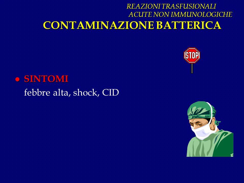 REAZIONI TRASFUSIONALI ACUTE NON IMMUNOLOGICHE CONTAMINAZIONE BATTERICA REAZIONI TRASFUSIONALI ACUTE NON IMMUNOLOGICHE CONTAMINAZIONE BATTERICA l SINT