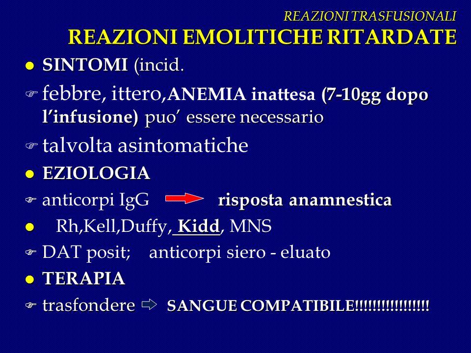 REAZIONI TRASFUSIONALI REAZIONI EMOLITICHE RITARDATE REAZIONI TRASFUSIONALI REAZIONI EMOLITICHE RITARDATE l SINTOMI (incid. (7-10gg dopo linfusione) p