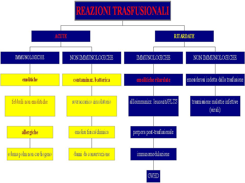 REAZIONI TRASFUSIONALI SOVRACCARICO CIRCOLATORIO REAZIONI TRASFUSIONALI SOVRACCARICO CIRCOLATORIO SINTOMI ipertensione F tachipnea, cefalea, tosse edemi periferici ipertensione, scompenso cardiocircolatorio EZIOLOGIA F infusione troppo rapida, volume eccessivo PREVENZIONE F infusione di emocomponenti idonei a adeguata velocita (< 2-4-ml/kg/h) F eventualmente dividere in aliquote