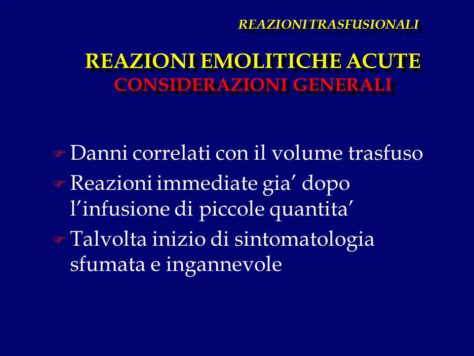 REAZIONI TRASFUSIONALI REAZIONI EMOLITICHE ACUTE CONSIDERAZIONI GENERALI F Danni correlati con il volume trasfuso F Reazioni immediate gia dopo linfus