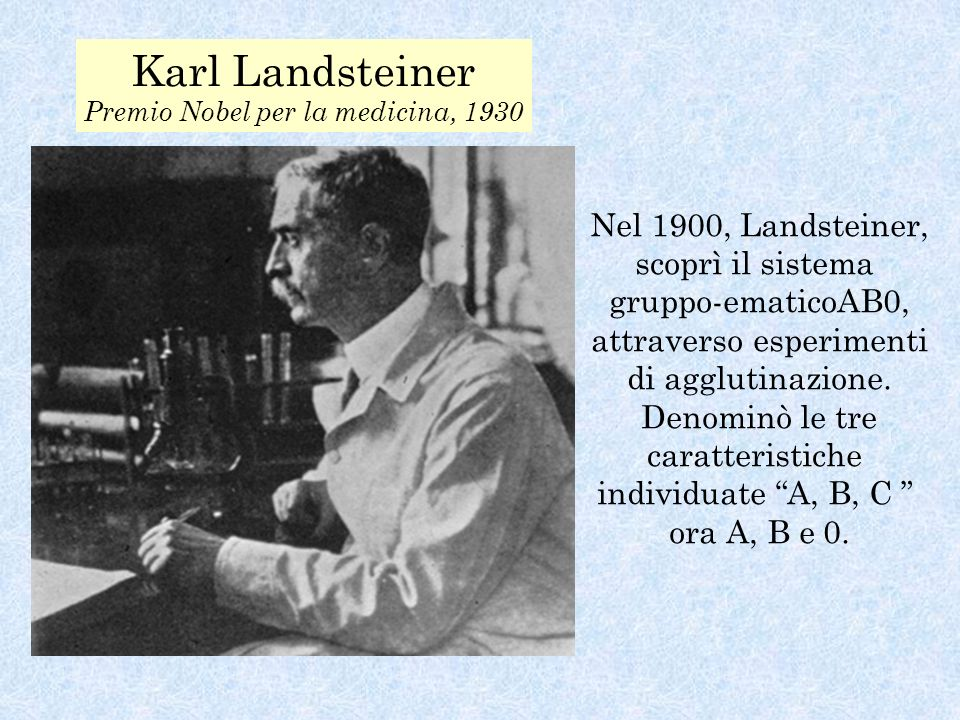 Karl Landsteiner Premio Nobel per la medicina, 1930 Nel 1900, Landsteiner, scoprì il sistema gruppo-ematicoAB0, attraverso esperimenti di agglutinazione.