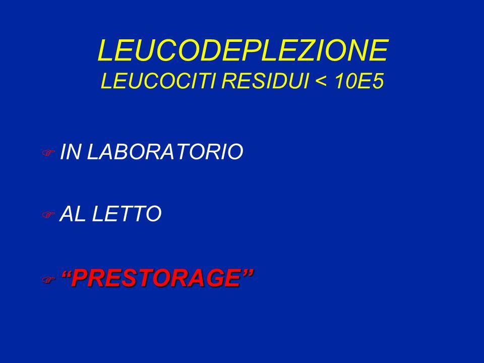 LEUCODEPLEZIONE LEUCOCITI RESIDUI < 10E5 F IN LABORATORIO F AL LETTO F PRESTORAGE