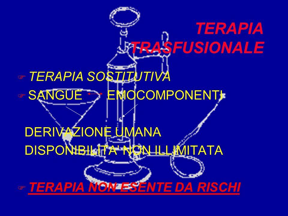 TERAPIA TRASFUSIONALE F TERAPIA SOSTITUTIVA F SANGUE EMOCOMPONENTI DERIVAZIONE UMANA DISPONIBILITA NON ILLIMITATA F TERAPIA NON ESENTE DA RISCHI