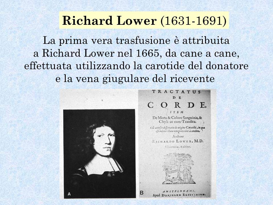 Richard Lower (1631-1691) La prima vera trasfusione è attribuita a Richard Lower nel 1665, da cane a cane, effettuata utilizzando la carotide del donatore e la vena giugulare del ricevente