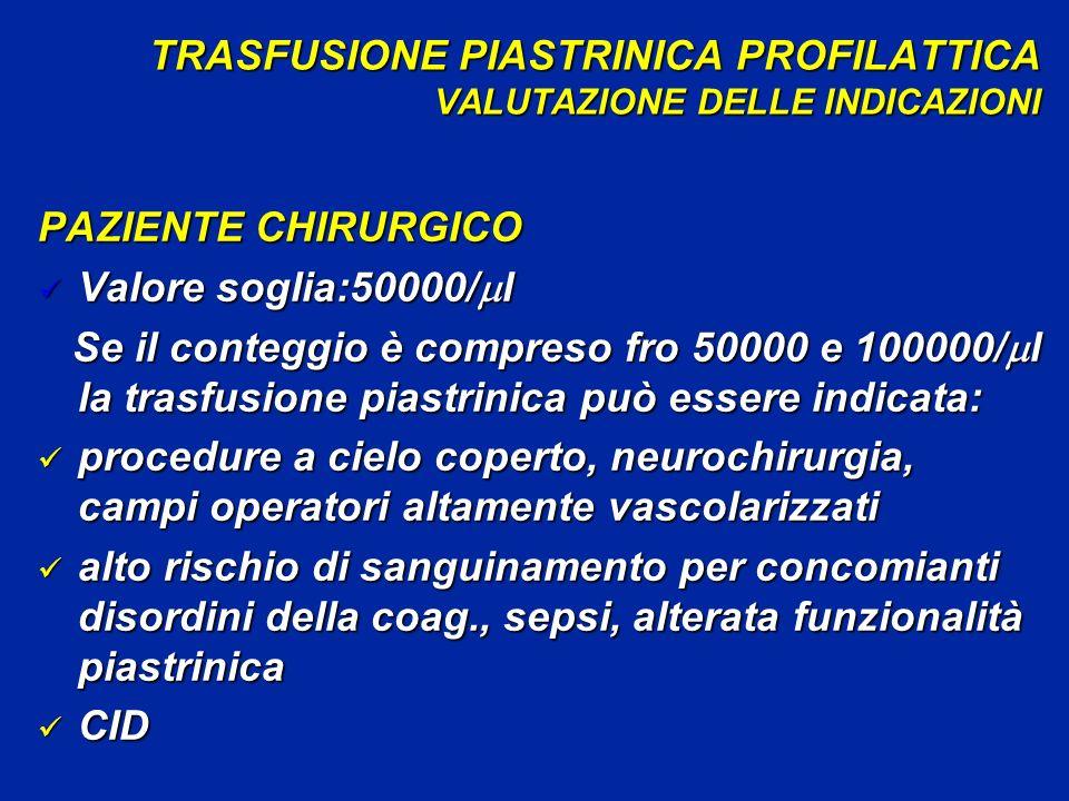 TRASFUSIONE PIASTRINICA PROFILATTICA VALUTAZIONE DELLE INDICAZIONI PAZIENTE CHIRURGICO Valore soglia:50000/ l Valore soglia:50000/ l Se il conteggio è compreso fro 50000 e 100000/ l la trasfusione piastrinica può essere indicata: Se il conteggio è compreso fro 50000 e 100000/ l la trasfusione piastrinica può essere indicata: procedure a cielo coperto, neurochirurgia, campi operatori altamente vascolarizzati procedure a cielo coperto, neurochirurgia, campi operatori altamente vascolarizzati alto rischio di sanguinamento per concomianti disordini della coag., sepsi, alterata funzionalità piastrinica alto rischio di sanguinamento per concomianti disordini della coag., sepsi, alterata funzionalità piastrinica CID CID