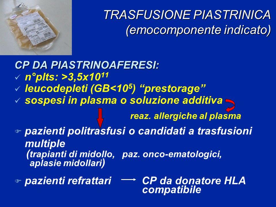TRASFUSIONE PIASTRINICA (emocomponente indicato) TRASFUSIONE PIASTRINICA (emocomponente indicato) CP DA PIASTRINOAFERESI: n°plts: >3,5x10 11 leucodepleti (GB<10 5 ) prestorage sospesi in plasma o soluzione additiva reaz.