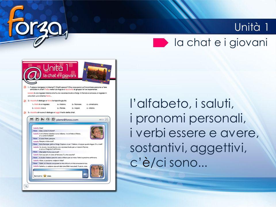Unità 1 la chat e i giovani lalfabeto, i saluti, i pronomi personali, i verbi essere e avere, sostantivi, aggettivi, cè/ci sono...