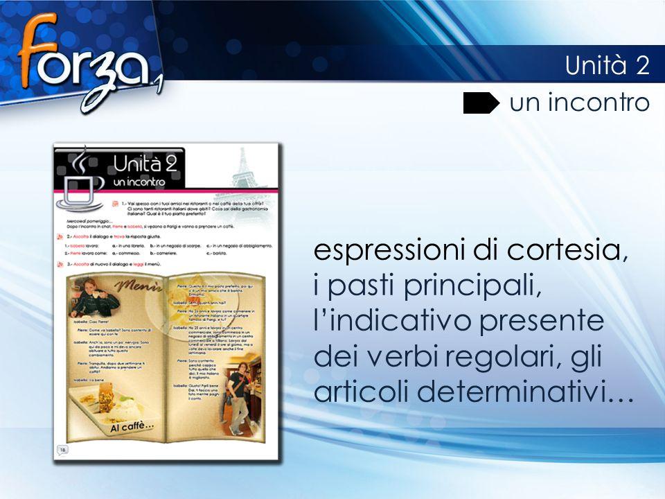 espressioni di cortesia, i pasti principali, lindicativo presente dei verbi regolari, gli articoli determinativi… Unità 2 un incontro